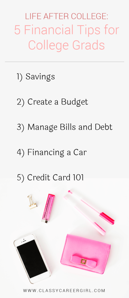 Life After College - 5 Financial Tips for College Grads list