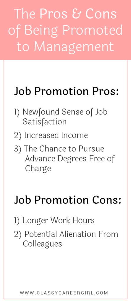 The Pros & Cons of Being Promoted to Management list
