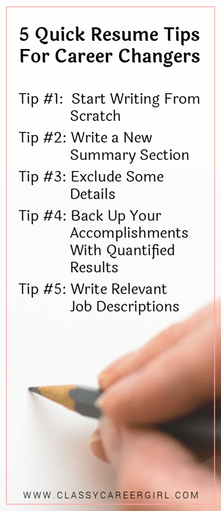 5 Quick Resume Tips For Career Changers List
