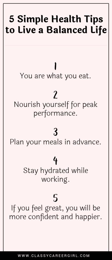 5 Simple Health Tips to Live a Balanced Life list