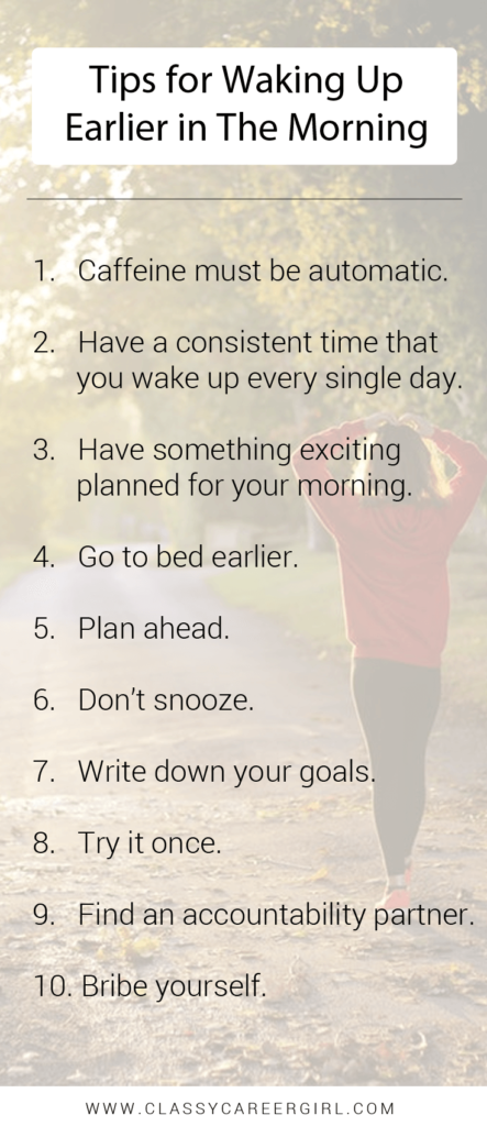 Tips for Waking Up Earlier in The Morning list