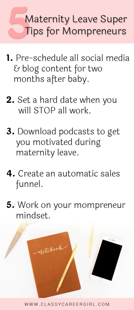 5 Maternity Leave Super Tips for Mompreneurs - list