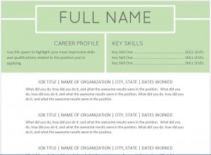 Green resume templates