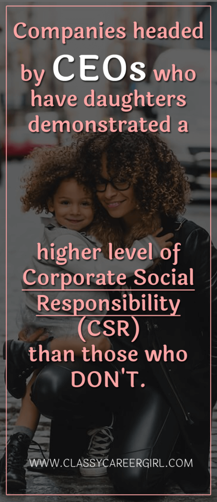 Companies headed by CEOs who have daughters demonstrated a higher level of corporate social responsibility (CSR) than those who don't.