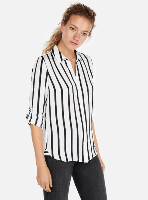 Striped Satin Twill No Pocket City Shirt By Express